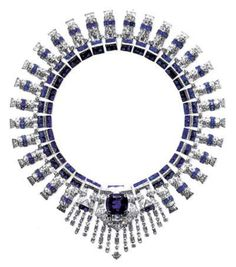 Cartier, 1936 - 1937. Collier of diamonds and sapphires. The necklace comes apart to make two bracelets and a brooch (the center jewel).