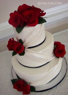 Simple white cake with red roses