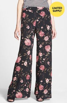 Mimi Chica Floral Print Palazzo Pants (Juniors) (Online Only) Textile Design by Tamorah Cancilla