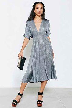 Oh My Love Metallic Kimono Midi Dress - Urban Outfitters
