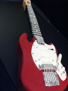 Groom's cake, Guitar, Fender, Red, Electric guitar, Strings, carved cake