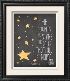 Great Big Canvas 'He Counts The Stars' by Jo Moulton Textual Art Format: Black Frame, Size: Boys Space Bedroom, Outer Space Nursery, Boys Room Decor, Star Themed Nursery, Star Nursery, Nursery Themes, Nursery Ideas, Bedroom Ideas, Nursery Quotes