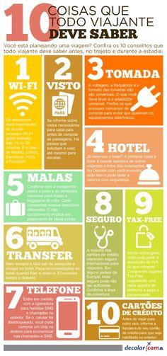 Resultado de imagem para infográfico 10 coisas que todo viajante deveria saber