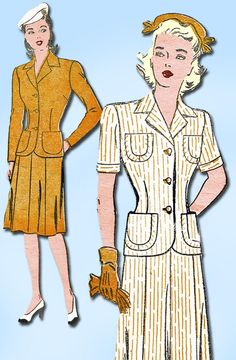 1940s Vintage New York Sewing Pattern 596 Misses' WWII 2 PC Suit Size 14 32 Bust