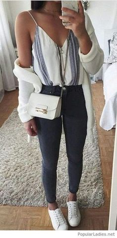 1c7c905020aa what to wear with a stripped top   bag + white cardi + skinny jeans +  sneakers Wonderful Post