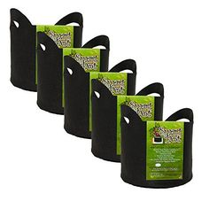Smart Pot SoftSided Fabric Garden Plant Container Aeration Planter Pots with Cut Handles 5 gallon 5 Pack Black *** Be sure to check out this awesome product.