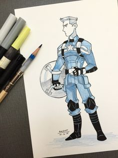Captain America in marker fanart by reb-chan
