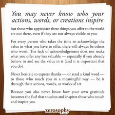 Excerpt from: You may never know who your actions, words, or creations inspire…