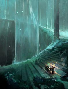 "adedrizils-shrine: ""Great Stairway by sedone "" - Fantasy Worlds - Fantasy City, Fantasy Places, Fantasy World, Dark Fantasy, Final Fantasy, Medieval Fantasy, Fantasy Art Landscapes, Fantasy Landscape, Landscape Art"