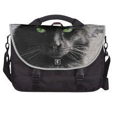 Green Eyed Black Cat, Artsy Commuter Bag