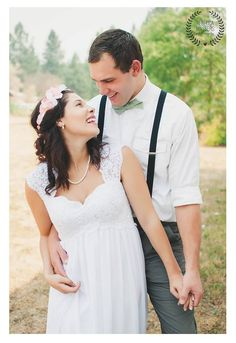 Amazing love suspenders bow tie lace wedding dress and an amazing photographer for our wedding Rebecca Masters Photography https://www.facebook.com/RebeccaMastersPhotography