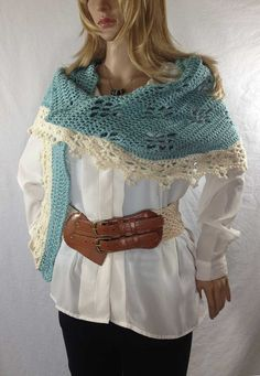 Outlander Claire Scarf French Lace Blue by WhispersintheGlen, $39.00