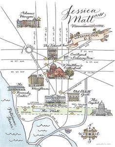 Custom Wedding Map- drawn, painted, and lettered by hand, perfect for a destination wedding. [trialbycupcakes Etsy shop]