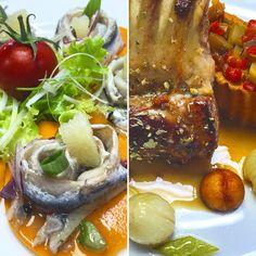 Sardines sur gaspacho gélifier, petit carré d'agneau rôti