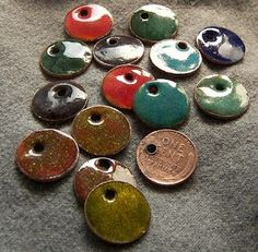 Turn pennies into colorful jewelry by using torch fired enamel. You could do just one side or both. If a torch is too advanced for you (like it might be for me), use nail polish.