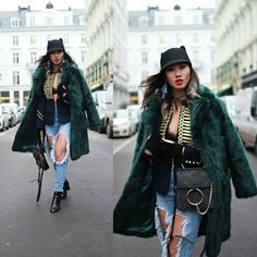 Get this look: http://lb.nu/look/8593095  More looks by Louise Xin: http://lb.nu/xinlouise  Items in this look:  Asos Green Faux Fur Coat, Zara Blazer With Gold Buttons, Gina Tricot Lace Bra, Ripped Jeans, River Island Ankle Boots   #chic #classic #street