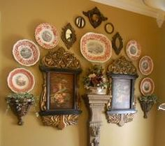 Custom Wall Scape Design Services  Decorate with Transferware Plates and Platters as Art - Interior Design Services - Nancy's Daily Dish