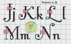This Pin was discovered by Ang Cross Stitch Letters, Cross Stitch Baby, Cross Stitch Charts, Cross Stitch Designs, Stitch Patterns, Cross Stitching, Cross Stitch Embroidery, Graph Paper Art, Embroidery Fonts
