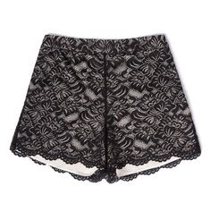 bebe Scallop Lace Shorts ($89) ❤ liked on Polyvore featuring shorts and bebe