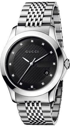 769b3c0e9a4 Amazon.com  Gucci G-Timeless Medium Diamond Marker Black Dial Men s  Watch(Model YA126405)  Watches