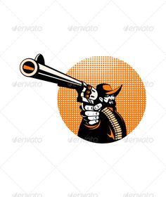 Bandit Cowboy Pointing a Revolver
