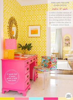 This is a bit too bright for me, but I LOVE that yellow wallpaper!!! i might do that with robin's egg blue and espresso woods. -- Yellow and pink home office (BHG)