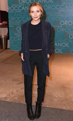 Elizabeth Olsen // navy blazer, cropped top, black pants & ankle boots #style #fashion #celebrity
