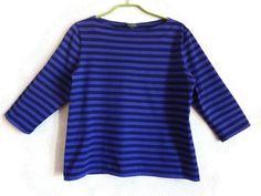 MARIMEKKO Violet & Dark Blue Striped Shirt 3/4 Sleeve Nautical Women's Top Marimekko Clothing M Size Finnish Cotton Top Comfortable Shirt by Vintageby2sisters on Etsy