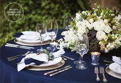 Decoração Casamento Navy - Detalhes Mesa  (Decoração e flores: Lais Aguiar | Foto: Julia Ribeiro)