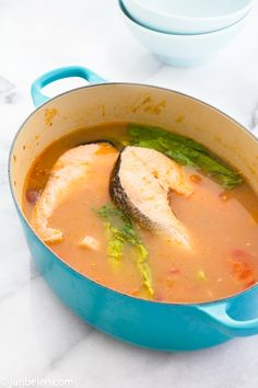 Sinigang na Salmon sa Miso (Filipino Salmon Tamarind Miso Soup)