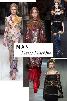 "The Biggest Runway Trends of Fall 2016 - A fitting way to ring in this year's ""Manus x Machina"" Met Gala? Fall's eye-popping fabrications—faultless embroidery and tiers of shimmering bugle beads—as whipped up by both man and machine."