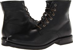 $189, Black Leather Boots: Frye Jonathan Mid Lace. Sold by 6pm.com. Click for more info: https://lookastic.com/men/shop_items/191840/redirect