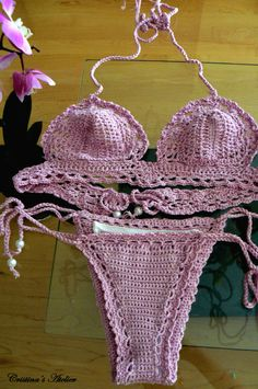 Sugar crochet bikini set. Handmade eco friendly crochet swimsuit. Boho crochet brazil bikini set. on Etsy, $149.00