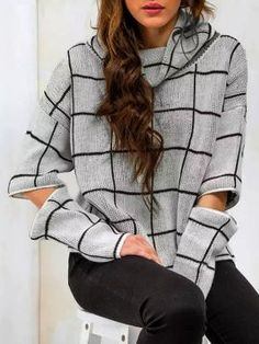 Shop Gray Plaid High Roll Neck Zipper Detail Knitted Sweater from choies.com .Free shipping Worldwide.$27.99