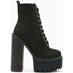 Jeffrey Campbell Syndicate Platform Boot ($153) ❤ liked on Polyvore featuring shoes, boots, heels, lace-up platform boots, black lace up boots, black leather boots, leather boots and high heel leather boots