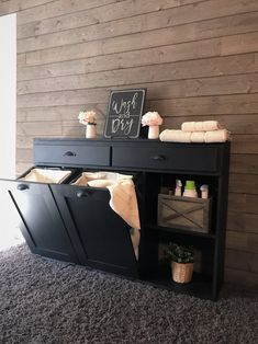 laundry hamper with storage drawers and shelf. could possibly go in hallway outside laundry room.