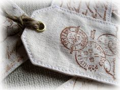 I love the use of fabric and stamping Quilt Labels, Fabric Labels, Fabric Yarn, Fabric Scraps, Fabric Embellishment, Fabric Stamping, Lavender Sachets, Couture Sewing, Love Sewing