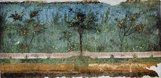 Römisch-antike Wandmalerei, getailgetreu zu einem Garten, manchmal mit Ornamenten verziert