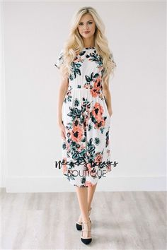 White Pink Spring Floral Pocket Modest Dress Bridesmaids Dress, Church Dresses, dresses for church, modest bridesmaids dresses, trendy modest dresses, modest womens clothing, affordable boutique dresses, cute modest dresses, cute modest clothes