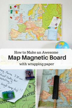 How to make an awesome map magnetic board by simply decoupaging map wrapping paper to an old magnetic board. Also includes tutorial for map themed travel pins.