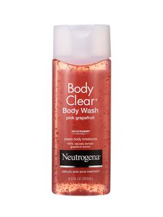 ACNE-FIGHTING    It may be unfair that zits get to feast on grapefruit as their last meal, but the salicylic acid-spiked Neutrogena Body Clear Body Wash Pink Grapefruit kills bacne so swiftly, we'll live.