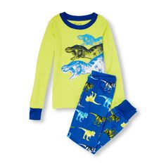 Boys Long Sleeve Triple T-Rex Graphic Top And Printed Pants PJ Set