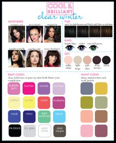 A Guide for Deep Winter Palettes. Who are other celebrities that are deep winter? - A Guide for Deep Winter Palettes. Who are other celebrities that are deep winter? Paleta Deep Winter, Deep Winter Palette, Deep Winter Colors, Deep Autumn, Cool Winter Color Palette, Cool Skin Tone, Cool Tones, Good Skin, Colors For Skin Tone