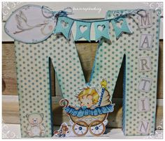 Letras decoradas. 3D Letters M Letter, Vinyl Cutting, Rice Paper, Easy Gifts, Word Art, Decoupage, Crafts For Kids, Paper Crafts, Baby Shower