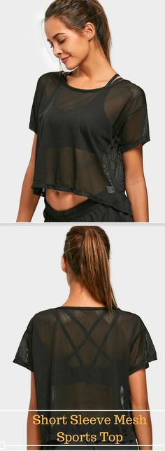 Get it $13.49 - Short Sleeve Mesh Sports Top - Colors available: Black & White  Size: S, M and L Shirt Length: Crop Top  Sleeves Length: Short Sleeves  Collar: Round Collar  Pattern Type: Solid  #Mesh #sport #gymwear
