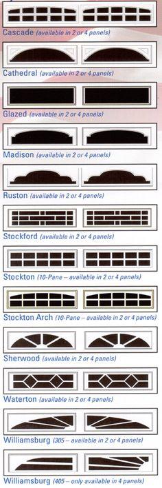 Chart showing the garage door window inserts selections for XL series steel garage doors