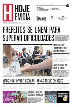 Capa do dia 03/05/2016 #HojeEmDia #Jornal #Notícias #News #Newspaper