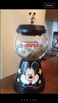 Mickey Mouse Savings jar I made :):):) Clay Flower Pots, Flower Pot Crafts, Clay Pots, Clay Clay, Clay Pot Projects, Clay Pot Crafts, Mickey Mouse Clubhouse, Mickey Mouse Birthday, Mickey Craft