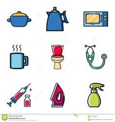 Random Stuff Icon Vector Design Kitchen Utensils, Toilet, Medical Kit, Iron Clothes, Bottle Spray Stock Vector - Illustration of medicine, flat: 112138848