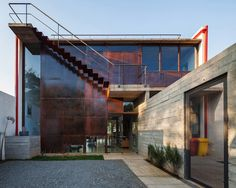 corten steel exterior stairs concrete wall trendy urban house in so paulo